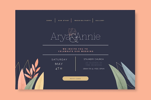 Minimal wedding landing page design
