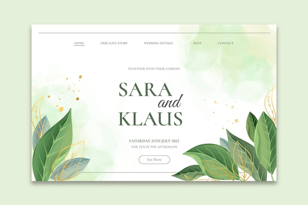 Minimal wedding landing page template