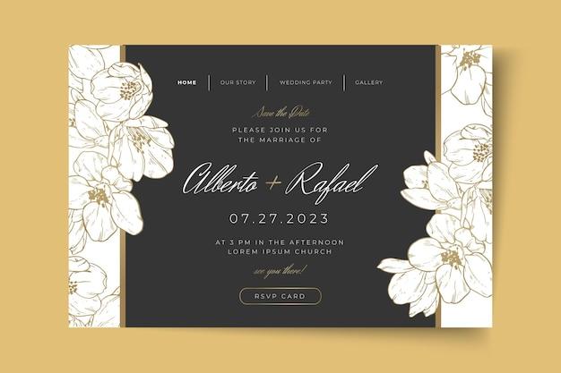最小限の結婚式のランディング ページ テンプレート