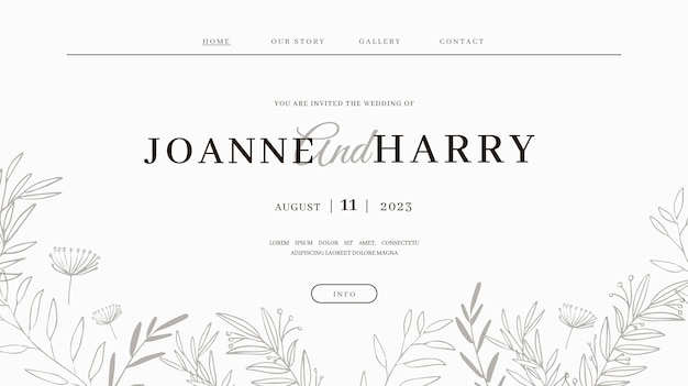 最小限の結婚式のランディングページテンプレート