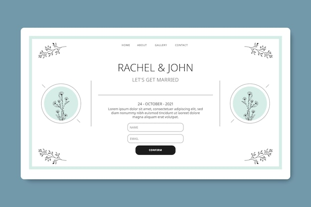 最小限の結婚式のランディングページ
