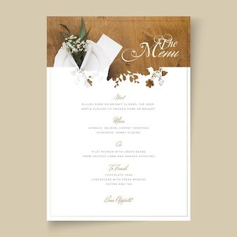 Il minimo concetto di menu di nozze