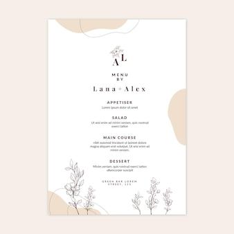 Modello minimo di menu di nozze