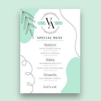 Minimal wedding menu template