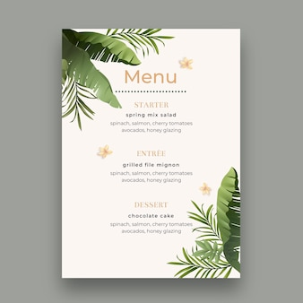 Minimal wedding menu with leaves