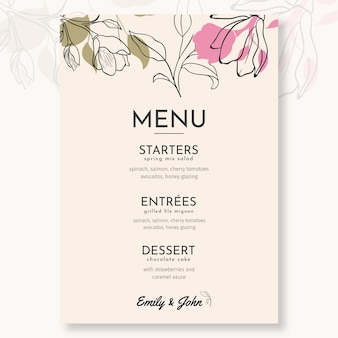 Minimal wedding menu