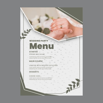 Minimal wedding menu
