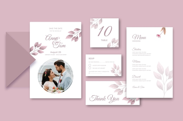 Minimal wedding stationery collection template