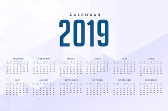Minimal white 2019 calendar design