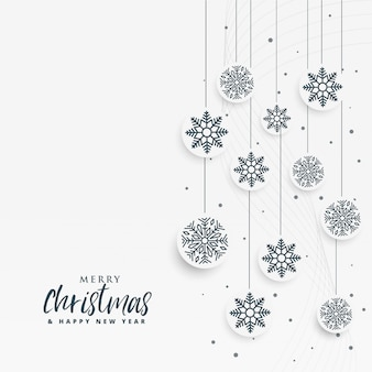 Minimal white christmas background with snowflakes