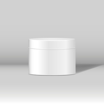 Minimal white cosmetic jar mockup