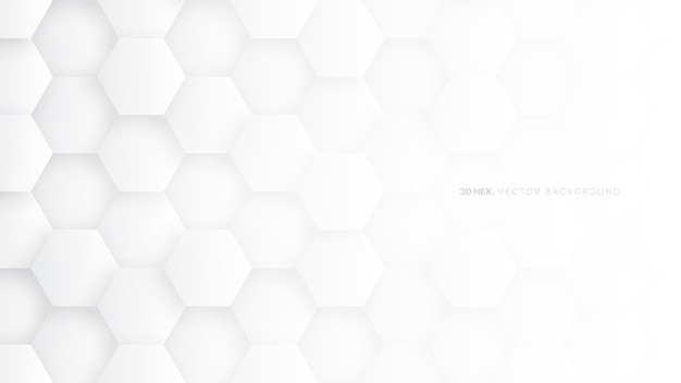 Minimal white hexagon pattern technology abstract background