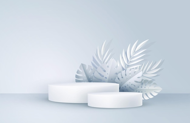 幾何学的な形とヤシの葉を持つ最小限の白いシーン