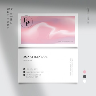 Minimal white sweet pink business card