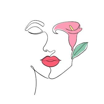 Минимальное лицо женщины на белом фоне. стиль рисования одной линии.