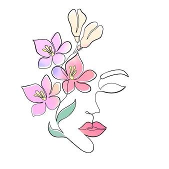 Минимальное лицо женщины с акварельными цветами на белом фоне. стиль рисования одной линии.