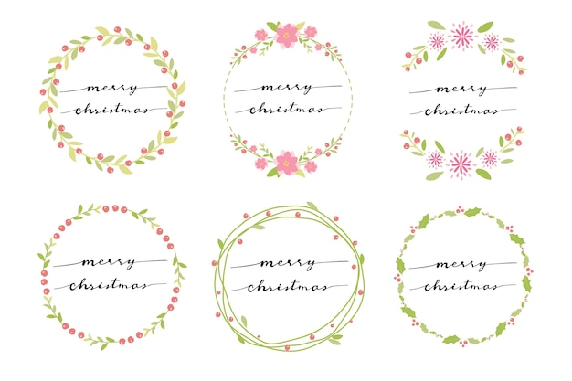 Minimal wreath with hand written calligraphy merry christmas