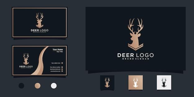 Minimalis of deer head - вдохновение для дизайна логотипа с современным градиентным цветом и дизайном визитной карточки