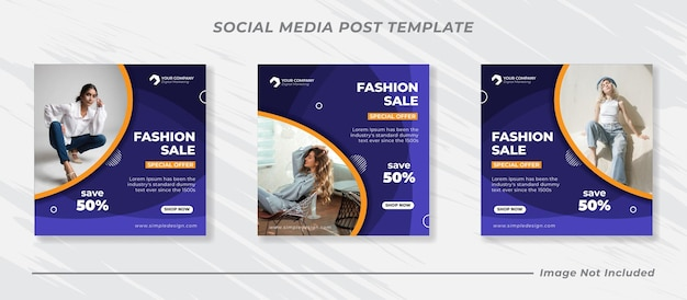 Minimalisソーシャルメディア投稿テンプレートコレクションinstagramファッション Premiumベクター