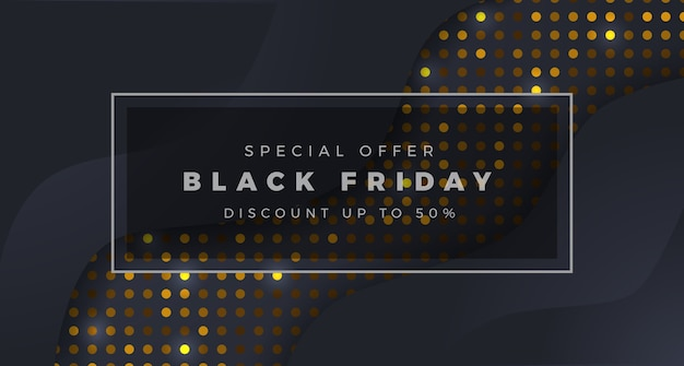 Minimalism black friday sale offer poster banner template with black and dot golden texture