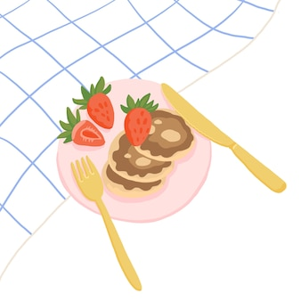ミニマリズムの朝食イラスト