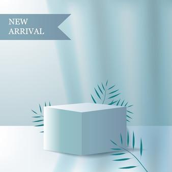 新着商品の表彰台を飾る、自然の葉と明るい影のミニマリズムキューブ