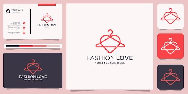 Minimalism fashion hanger line style logo with love heart design concept. fashion love logo design.