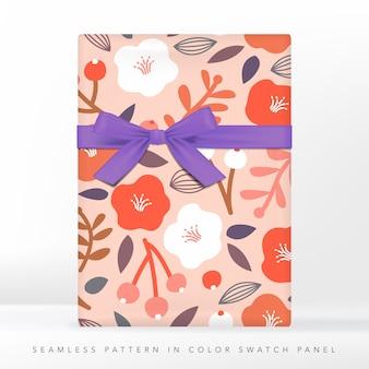 ミニマリズム花の抽象的なシームレスパターン、オレンジ、コーラル&ホワイト。リボンイラストのギフト。