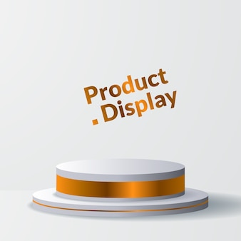 Minimalism luxury golden  cylinder for product display with stage or podium pedestal
