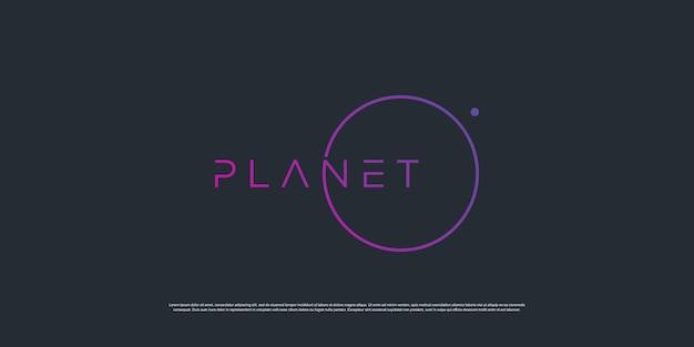 Minimalism planet logo with circle line art concept premium vector