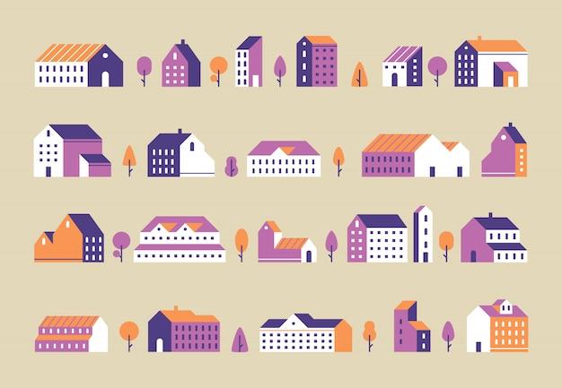 ミニマリズムの町の建物。幾何学的な最小限の住宅、都市の建物、都市住宅のフラットセット