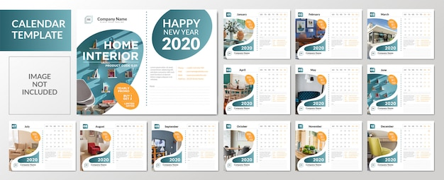 Minimalist 2020 desk calendar template  set