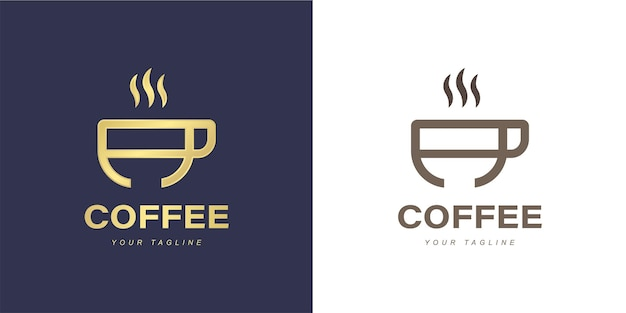 ミニマリストコーヒーまたはコーヒーショップのコンセプトの文字ロゴ