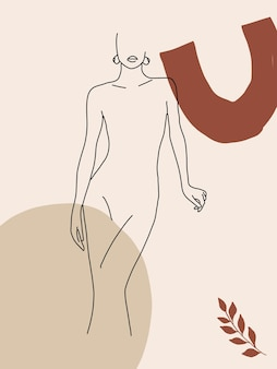 Minimalist abstract background with line art silhouette female shapes leaves creative boho poster