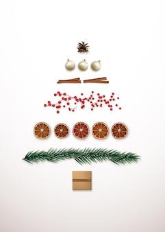 ミニマリストの抽象的なクリスマスツリーのシルエット。