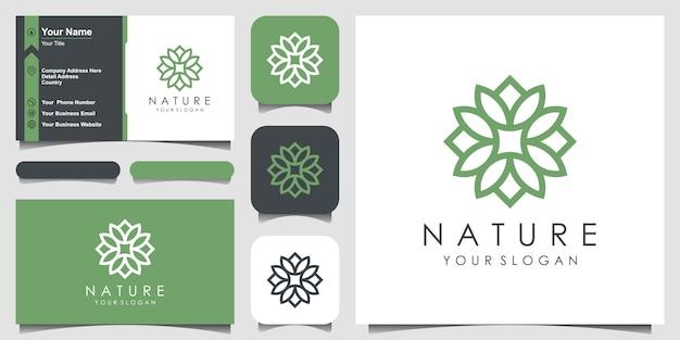 シンプルな抽象的なフローラルローズのロゴデザインと名刺デザイン