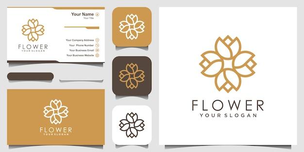 ラインアートスタイルでシンプルな抽象的な花のロゴデザインのインスピレーション。ロゴと名刺