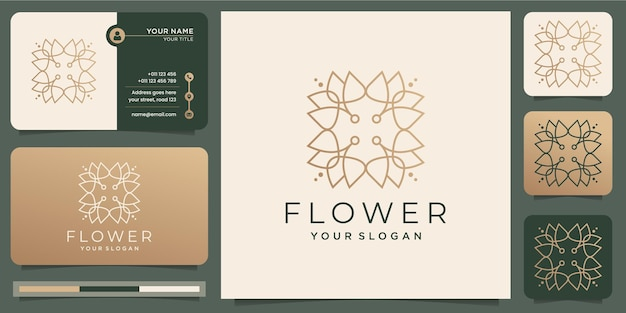 Minimalist abstract flower rose luxury beauty salon, fashion, skincare, cosmetic, yoga and spa products with business card .