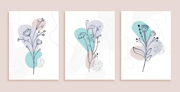 Minimalist abstract flowers and leaves line art posters design