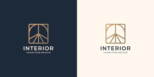 ミニマリストの抽象的なインテリアロゴ。家具のインテリアテンプレートの創造的なラインアートスタイルのコンセプト。