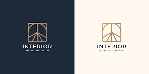 Minimalist abstract interior logo. creative line art style concept for furniture interior template. Premium Vector