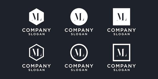 Минималистский абстрактный логотип с буквой ml. этот значок с логотипом объединен с буквой