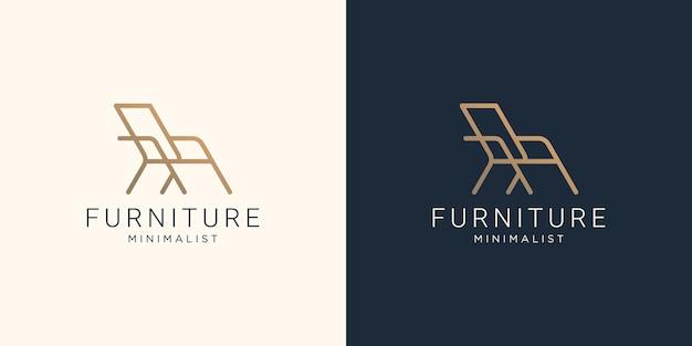 Minimalist abstract line art furniture logo design. abstract, interior, furnishing design template.