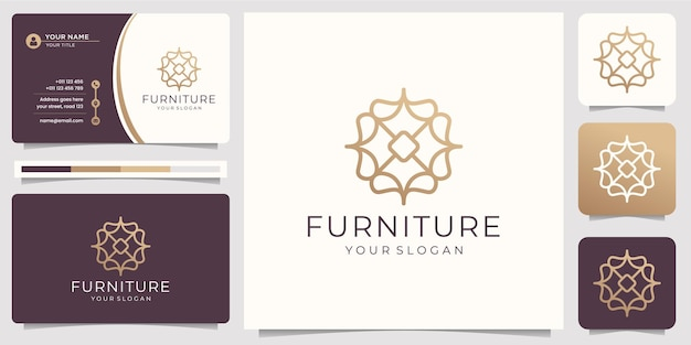 Minimalist abstract line art furniture. logo design and business card.