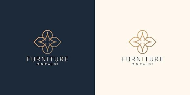 Minimalist abstract line art furniture logo design. interior, monogram, furnishing illustration.