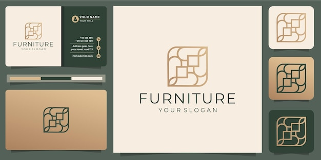 Minimalist abstract line art furniture. logo design style, line. abstract, interior, monogram, furnishing with business card