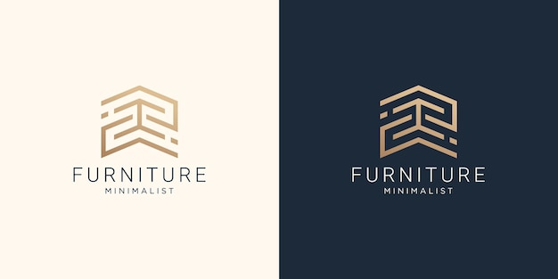 Minimalist abstract line art furniture logo with business card design.
