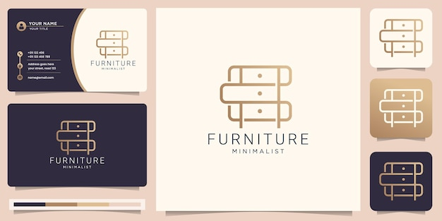 Minimalist abstract line art furniture with business card design logo design style line gold color abstract interior shape monogram furnishing design template illustration premium vector