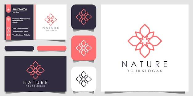 ラインアートスタイルのロゴと名刺デザインのシンプルな抽象的な蓮の花