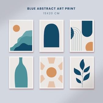 미니멀리스트 추상 포스터 아트 손으로 그린 모양은 파란색으로 설정된 커버